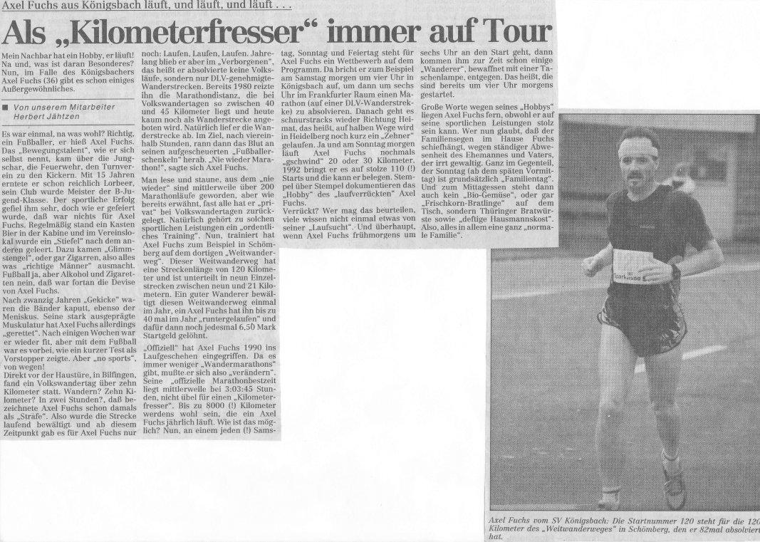 1992 - Axel Fuchs aus Königsbach läuft und läuft und läuft...